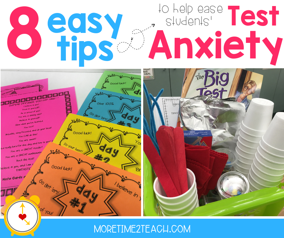 Check out these 8 tips to reduce testing anxiety—> We know how debilitating testing anxiety can be. It can cause stomach aches, headaches, sleepless nights, frustration, inability to think clearly and even hives! Although we can't change the fact that our kids have to test, we CAN help them deal with their anxiety.