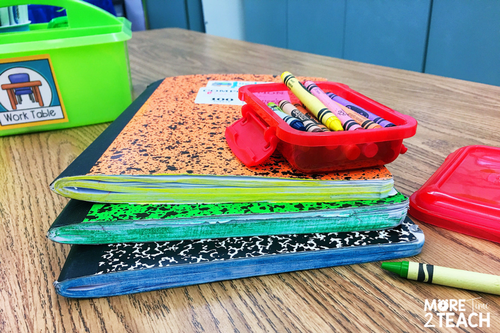 The sides of notebooks colored in different colors to make them easier to find in student's desks