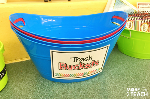 If you don't want trash all over your classroom floor, have your Cleanup Crew place a trash bucket at each table. Once students are done, the Cleanup Crew walks around collecting and emptying trash buckets. This eliminates having twenty some kids running to the trash can at the same time.