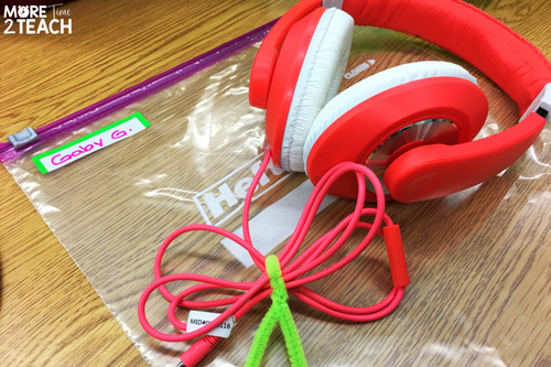 Being a teacher can be overwhelming at times! That's why it's so important to work smarter and not harder. Using chenilles to tie the cords from headphones keeps them from getting tangled up. Then storing the them in labeled Ziploc bags keeps them organized and easy to take with you to the computer lab.