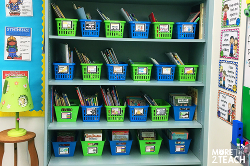 Being a teacher can be overwhelming at times! That's why it's so important to work smarter and not harder. Labeling baskets and books with matching labels means you only have to do it once and can forget about it. It also makes returning books to their proper home that much easier for students.
