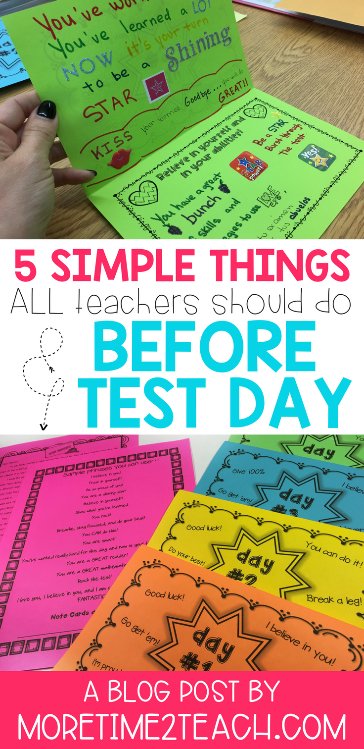 Don't let testing stress get to you! Read all about 5 simple things that teachers should do BEFORE test day. Between testing motivation, wardrobe tips, and relaxation breathing techniques, we've got you covered!