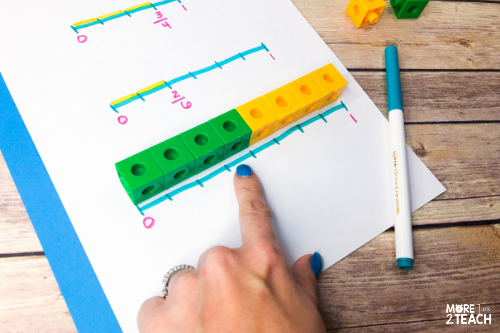 Teaching kids about fractions on a number line can be tricky. Read about 4 hands on fraction activities for kids that will make learning about fractions on a number line fun! They're easy to setup, a great visual to help teach fractions, and involve using cubes, pipe cleaners, beads, and markers. #Teachingfractions #Handsonfractions #Fractionactivities